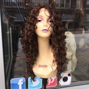 Long curly copper ginger brown Lacefront wig 2020